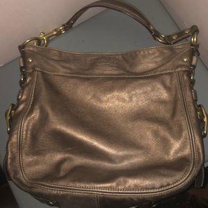 Coach Zoe hobo shoulder bag purse gold metallic